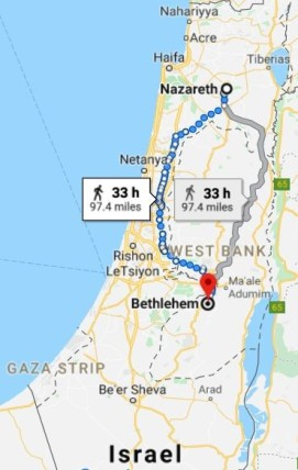 Nazareth to Bethlehem map